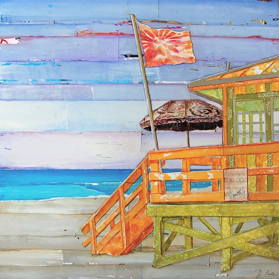 Beach art PRINT or CANVAS, coastal lifeguard shack summer gift, coast beach home decor wall poster, collage, painting, ocean art, All Sizes