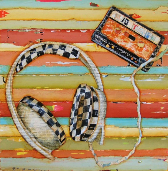 ART PRINT, Headphones cassette tape checkerboard 1980's music gift college gift teenager decor, All Sizes
