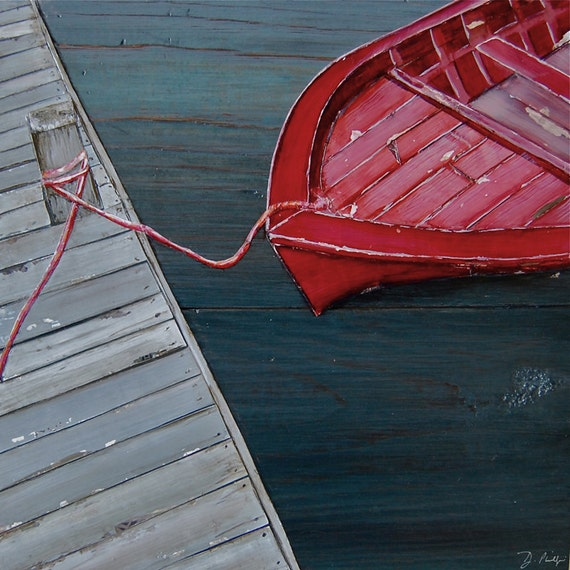 Nautical ART PRINT or CANVAS red rowboat at dock beach ocean coastal coast wall home decor poster sea retro vintage recycled, All Sizes