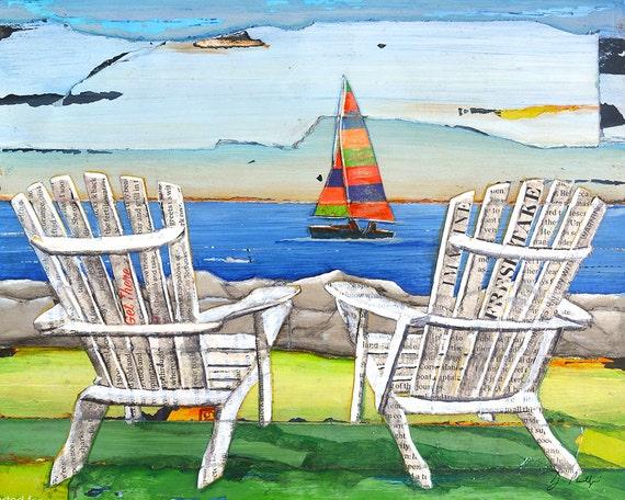 Adirondack Chairs Sailboat Beach Lake ART PRINT or CANVAS coastal poster wall home decor painting summer gift coastal summer gift, All sizes