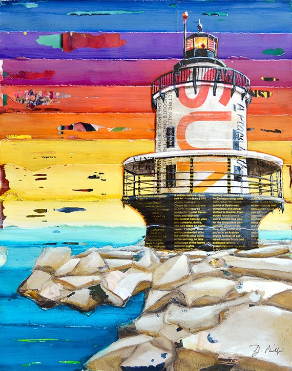 On the Rocks Lighthouse art PRINT or CANVAS portland maine beach coastal ocean summer gift ocean wall home decor vacation, All Sizes
