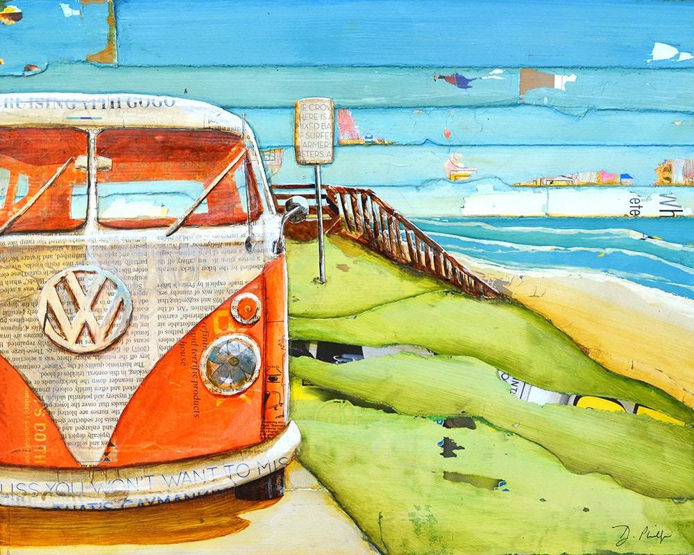 Volkswagen Van Bus Vw Beach ART PRINT or CANVAS classic ...