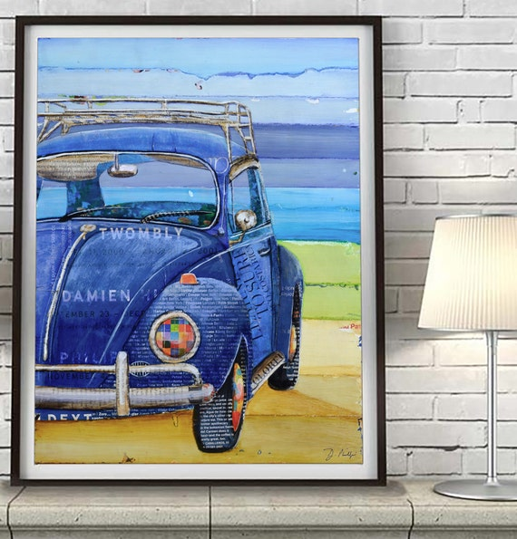 I got the Blues Vintage Vw Volkswagen Beetle 1967 Bug ART PRINT or CANVAS beach coastal wall home decor poster, All Sizes