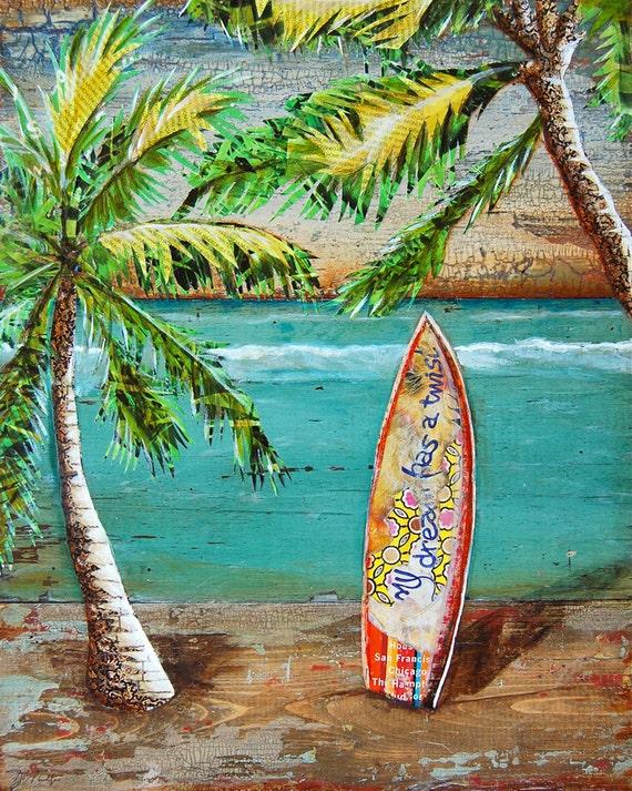 SURF art PRINT or CANVAS Surf's Up palm trees Surfboard Hawaii beach coastal ocean summer gift ocean wall home decor vacation, All Sizes