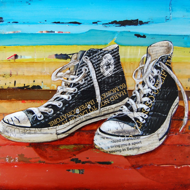 e78aeba290b5 Converse shoes retro vintage ART PRINT Converse sneakers high