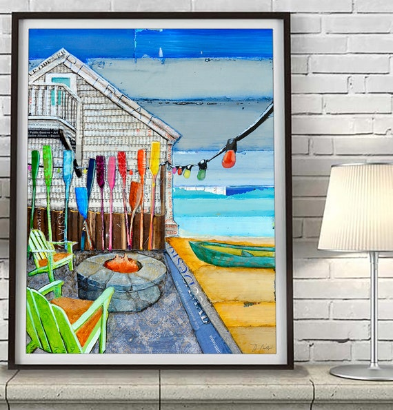 Ocean View - back porch fire pit- Mixed Media Collage Fine ART PRINT or CANVAS - Beach artwork wall decor, nautical coastal decor, All Sizes