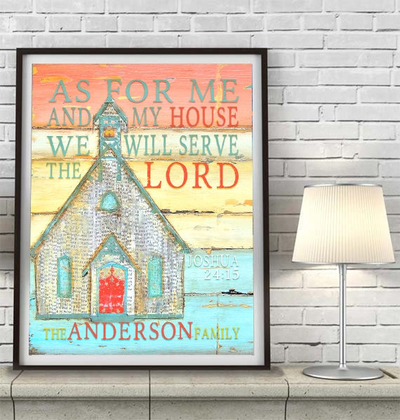 CUSTOMIZED PRINT or CANVAS As for Me and my house Joshua 24:15 church chapel christian bible verse family home decor wall art gift,All Sizes