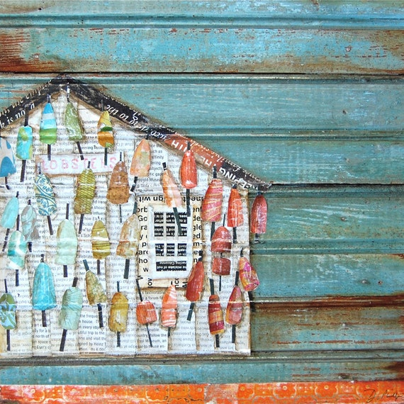 ART PRINT or CANVAS Lobster Shack Maine beach shack coastal poster wall home decor painting summer gift coastal rainbow collage, All sizes