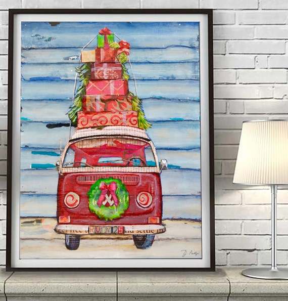Christmas Vw Volkswagen Bus with wreath presents ART PRINT or CANVAS seasonal holiday decorations poster wall home decor, All Sizes