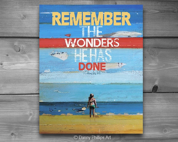 ART PRINT,  Remember the Wonders, motivational wall art, sign, poster, print, wall print, illustration, collage, ALL Sizes