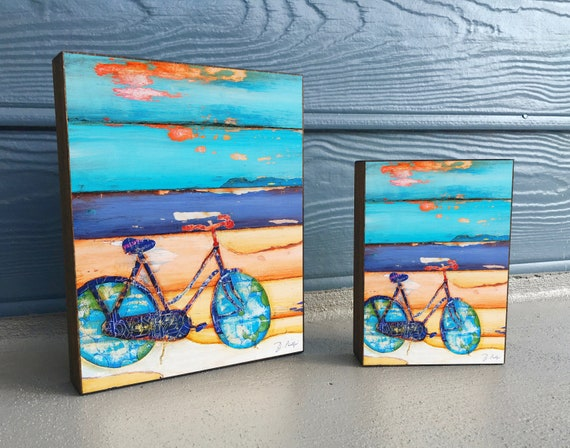 Proper Use for the Kickstand - ART PRINT on Wooden Block - Fine Art Block, Bicycle, Biking, Bike,Coastal Nautical Wall Home Decor Sign, Gift