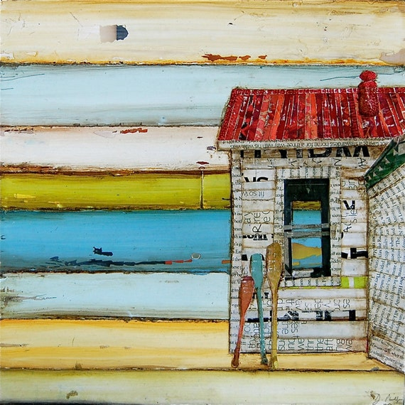 Beach Shack ART PRINT or CANVAS Coastal Ocean Boat Oars surfing kayaking gift for him her beach house family vacation Maine, All Sizes