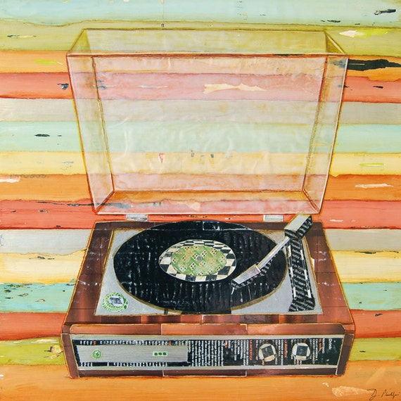Vinyl Retro Record Player Art PRINT or CANVAS wall decor,retro vintage,collage, decorative poster, gift for him,turntable painting,All Sizes