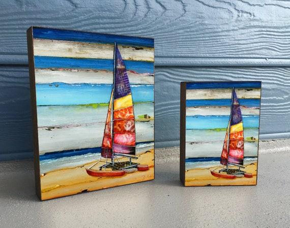 Sail Away - ART PRINT on Wooden Block - Fine Art Block, Sailboat, Beach Coastal Nautical Wall Home Decor Sign, Gift