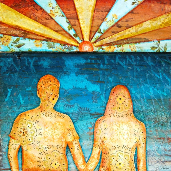 Valentines day Beach art PRINT or CANVAS couple in love ocean lake sunset romance engagement wedding gift for her him sunshine, All Sizes