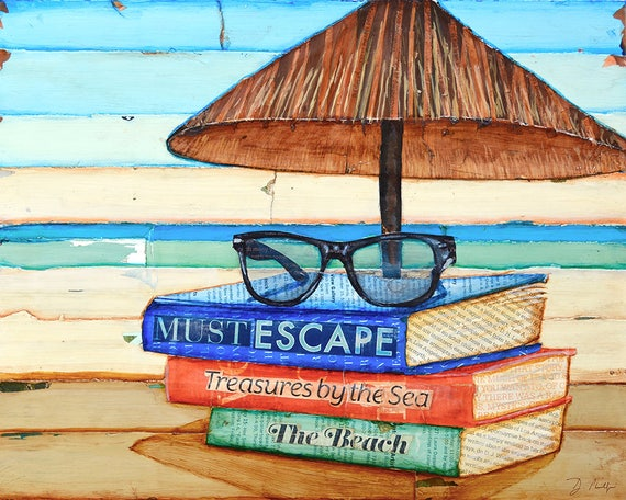 Reading Glasses ART PRINT or CANVAS summer beach art book lover wall decor mixed media collage painting gift, All Sizes