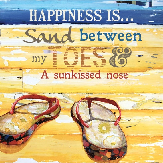 ART PRINT, flip flops sand beach gift, retro beach art decor, coastal art, honeymoon ocean decor,mixed media painting,summer gift, All Sizes