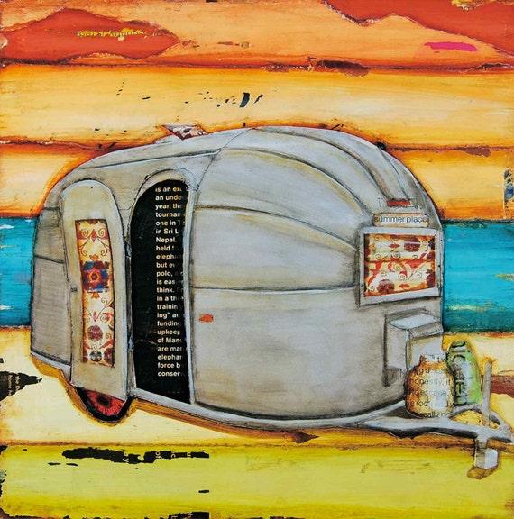 Airstream RV ART PRINT, vintage retro camper camping beach lake, beach art decor, wall decor, poster, coastal, coast summer gift, All Sizes