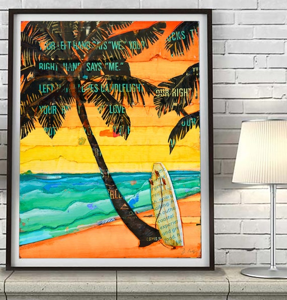 Palm Sunday -Palm Trees Surfboard sunset ART PRINT or CANVAS beach coastal nautical wall home decor poster, All Sizes