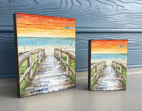 The Approach- ART PRINT on Wooden Block - Fine Art Block, Beach Boardwalk Path, Coastal Nautical Wall Home Decor Sign, Gift