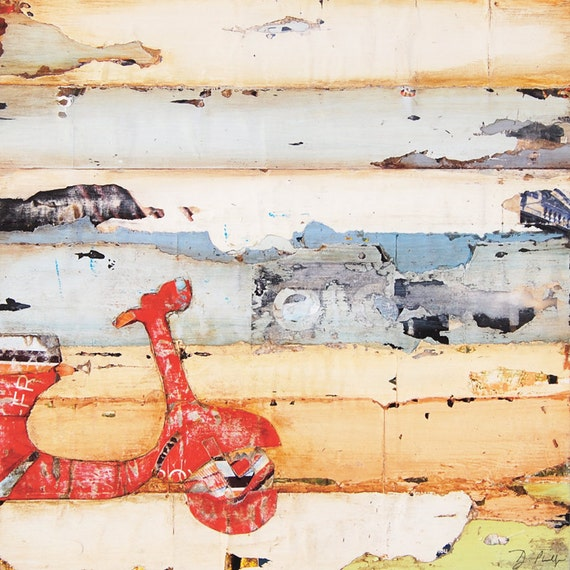 Vespa ART PRINT or CANVAS scooter italian collage beach red wall home decor coastal ocean decor painting summer retirement gift,All Sizes