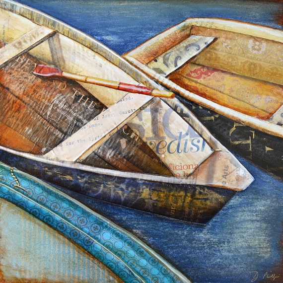 Fine ART PRINT or CANVAS Row Boats beach ocean coastal nautical painting coastal anniversary gift wall home decor collage rowing, All Sizes
