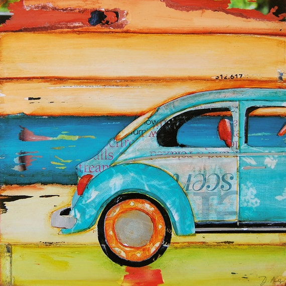 ART PRINT or CANVAS Volkswagen vw Van Bug beach costal wall home decor poster retro vintage summer gift beach gift for him, All Sizes
