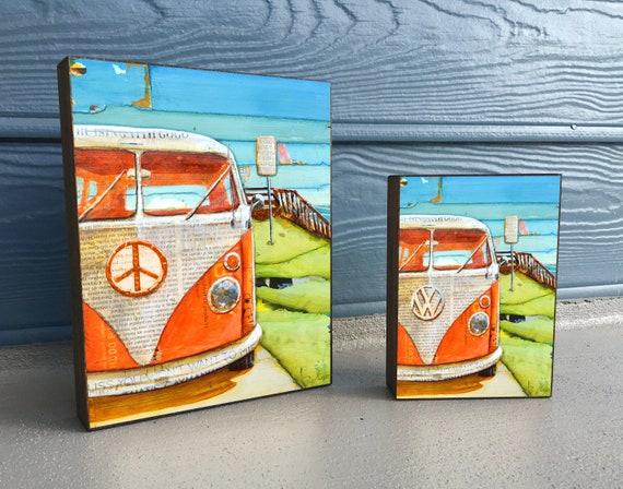 Orange Crush - ART PRINT on Wooden Block - Fine Art Block, Classic Car Van, Peace, Coastal Nautical Wall Home Decor Sign, Gift