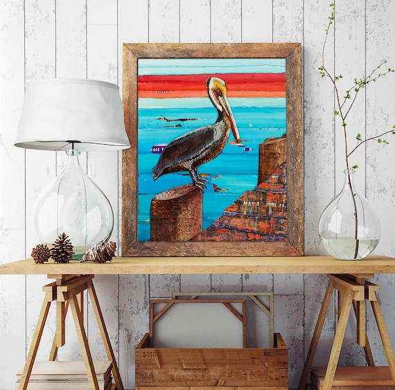 Layover - Pelican on Pier - Mixed Media Collage Fine ART PRINT or CANVAS - Beach artwork wall decor, nautical coastal decor, All Sizes