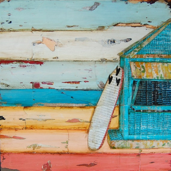 BEACH ART PRINT or Canvas, Surfboard Beach Shack ocean decor wall print fathers day gift for him turquoise birthday surferAll Sizes