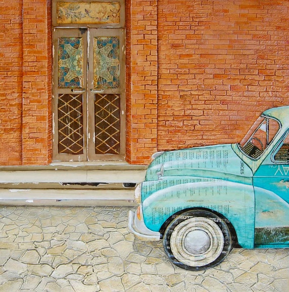 "Italian Car and Doorway - ""Curb Appeal"" - Fine Art Print , All Sizes"