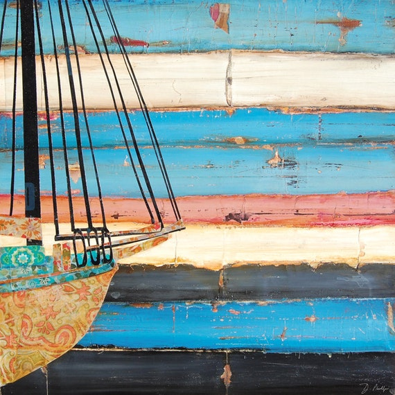Nautical ART PRINT or CANVAS sailboat boat Camden Maine Ocean Sea Coast Costal wall decor poster painting collage sunset gift, All Sizes