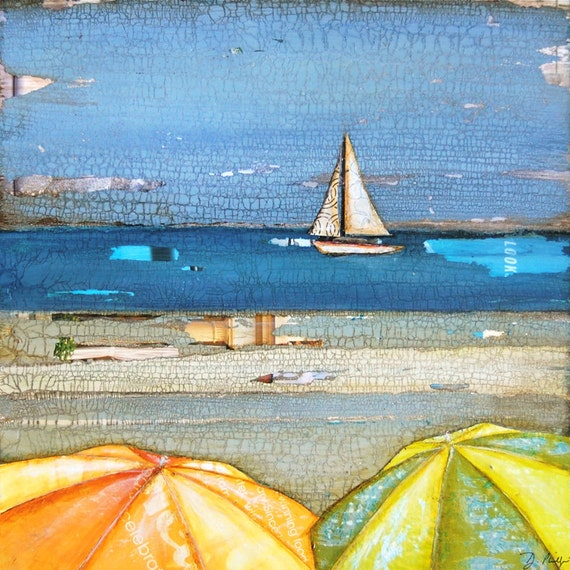 ART PRINT or CANVAS sailboat umbrellas beach coastal wall home decor summer gift vacation retirement cheerful bright painting, All Sizes