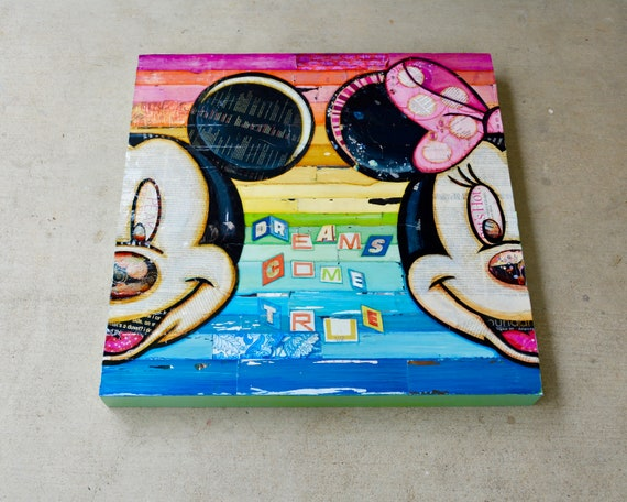 """Dreams Come True - Original Mixed Media Collage 24""""x24"""" by 3"""" Deep on Raised Wooden Canvas,Disney Mickey and Minnie Mouse Wall Artwork Decor"""