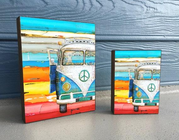 Playing Hooky - ART PRINT on Wooden Block - Fine Art Block, Classic Car Van, Peace, Coastal Nautical Wall Home Decor Sign, Gift