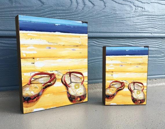 Lost at Sea - ART PRINT on Wooden Block - Fine Art Block, Sandals, Flip-flops, Coastal Nautical Wall Home Decor Sign, Gift