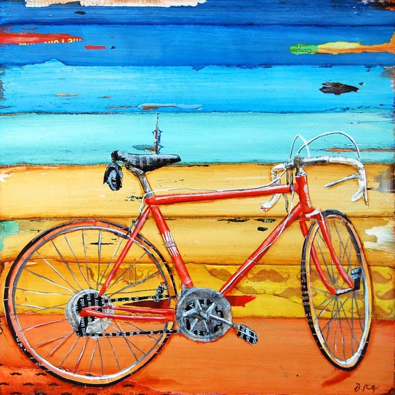 ART PRINT or CANVAS Biking bicycle bike vintage adventure handmade home decor summer wall art wedding gift poster painting, All Sizes