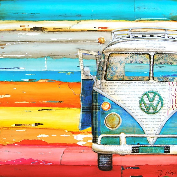 ART PRINT Vw volkswagen van bus retro vintage beach coastal wall decor poster painting summer gift nostalgia wedding, All Sizes