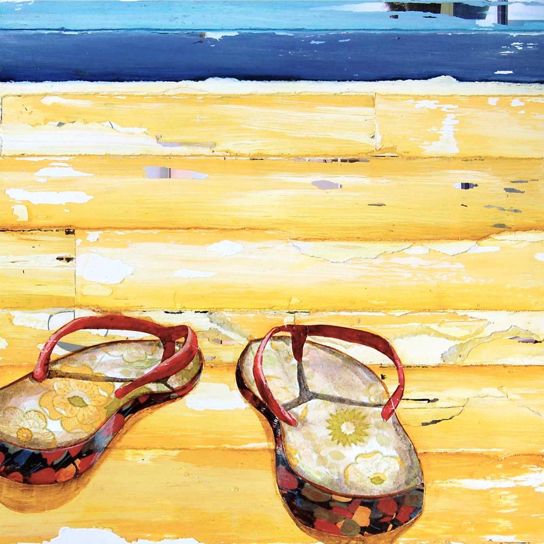 BEACH ART PRINT, sandals, flip flops, sea, beach print, beach decor ...