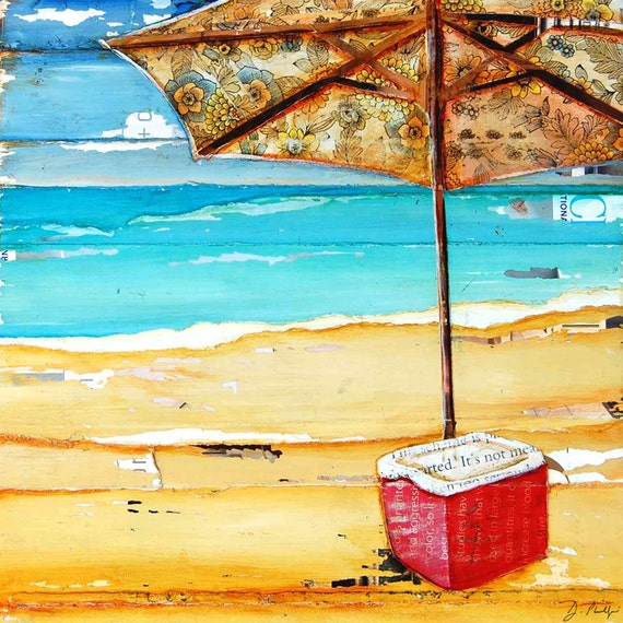 ART PRINT or CAVAS Beach Umbrella cooler summer home decor poster painting vacation inspirational retirement coastal ocean gift, All sizes