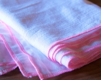 12 Hot Pink Trim Reusable Everyday Unpaper towels and napkins