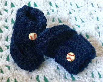 Navy Blue Booties with a white and red baseball button