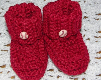 Red Booties with baseball button