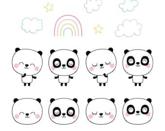 Panda Dreams Digital Clipart Clip Art Illustrations - instant download - limited commercial use ok