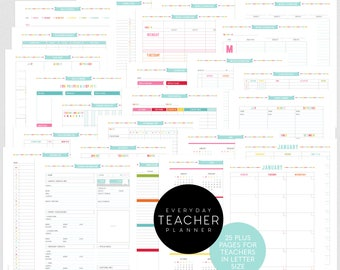 Teacher Planner - Editable PDF Printables - Letter Size - organize your students, lesson plans and much more - digital download