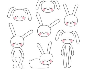 Sleepy Eyed Bunnies Digital Clipart Clip Art Illustrations - instant download - limited commercial use ok