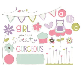 You Are: Girl Digital Clipart Clip Art Illustrations - instant download - limited commercial use ok