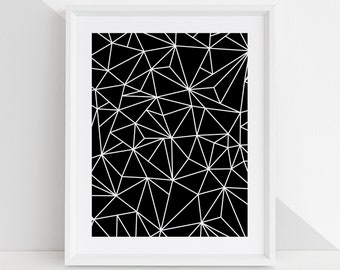 Geo Joe Black + White Abstract Triangle DIY Printable Digital Wall Art Prints - childrens bedroom kids playroom nursery home decor - 5 sizes