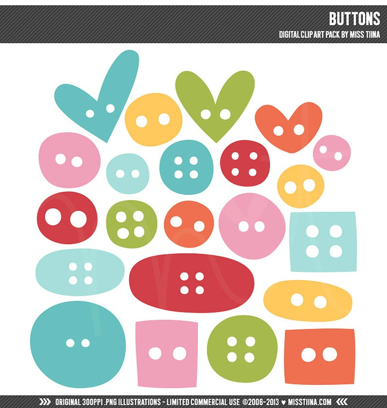 instant download Buttons Digital Clipart Clip Art Illustrations limited commercial use ok