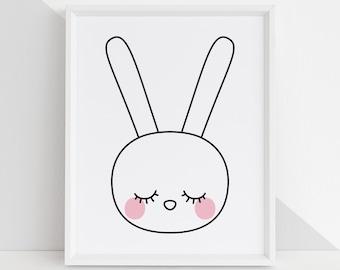 Sleepy Eyes Bunny DIY Printable Digital Wall Art Prints - childrens bedroom kids playroom nursery home decor 4x6 5x7 8x10 8.5x11 11x14
